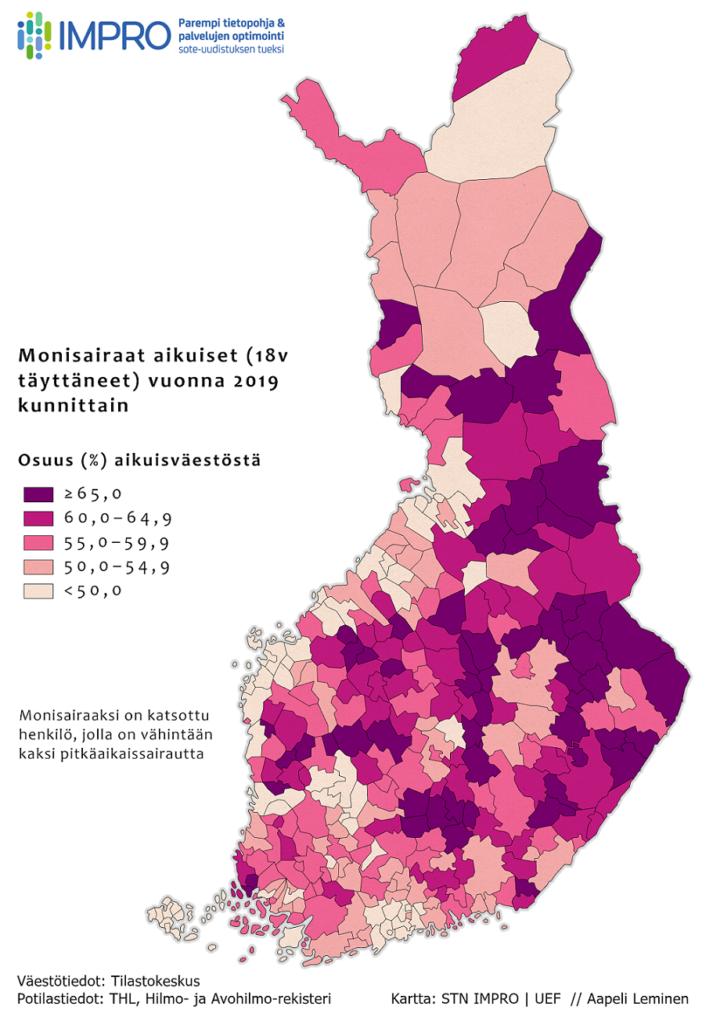 Monisairastavuuden esiintyvyys Suomessa